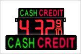 Cash/Credit Gas LED Signs