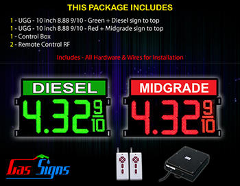 Gas Signs Diesel  - 1 Red Midgrade and 1 Green