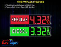 Gas LED Sign - 1 Red with label Regular, 1 Green with label Diesel