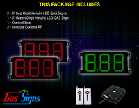 """LED Gas Signs Custom Red-2 Green-1 8"""" Digit Height"""