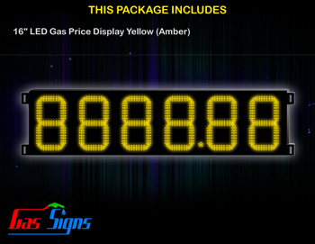 LED Gas Price Display 16 inch - 8888.88 Yellow Sign