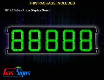 LED Gas Price Display 16 inch - 88888 Green Sign