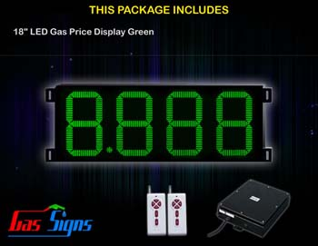 Gas Price LED Display 18 inch - 8.888 Green Sign