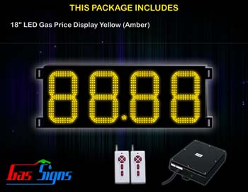 Gas Price LED Display 18 inch - 88.88 Yellow Sign