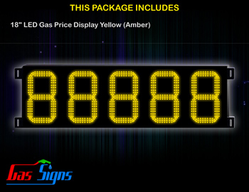 Gas Price LED Display 18 inch - 88888 Yellow Sign