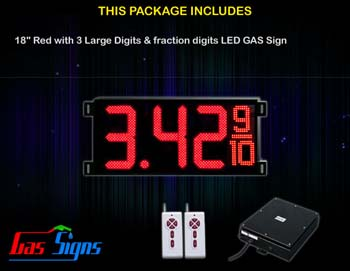 Gas Price LED Sign (Digital) 18 Inch Red with 3 Large Digits & fraction digits