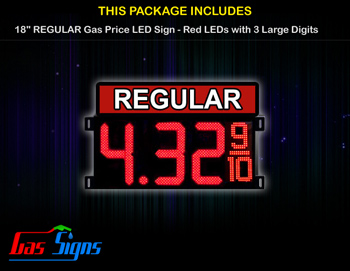 Gas Price LED Sign 18 Inch REGULAR - Red LEDs with 3 Large Digits & fraction digits