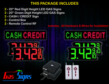 Gas Price Sign 20 inch - 2 CASH / CREDIT signs - 2 Red & 2 Green Digital Gasoline Signs - Complete Package w/ RF Remote Control