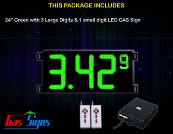 Gas Price LED Sign (Digital) 24 Inch Green with 3 Large Digits & 1 small digit