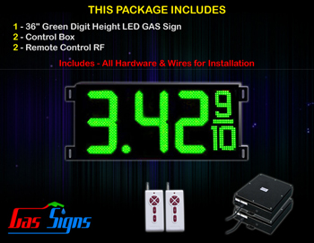 Gas LED Price Sign 36 inch - 1 Green Digital Gasoline Signs - Complete Package w/ RF Remote Control