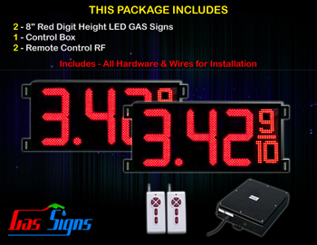 """Gas Price LED Sign 8 inch - 26""""x11""""- 2 Red Digital Gasoline Signs - Complete Package w/ RF Remote Control"""