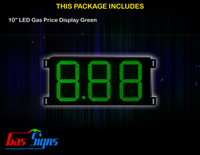 LED Gas Price Display 10 inch - 8.88 Green Sign