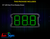 LED Gas Price Display 10 inch - 88.8 Green Sign