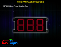 LED Gas Price Display 10 inch - 88.8 Red Sign