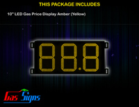 LED Gas Price Display 10 inch - 88.8 Yellow Sign