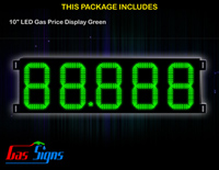 LED Gas Price Display 10 inch - 88.888 Green Sign