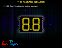 Gas Price LED Sign 12 inch - 8.8 Yellow Sign