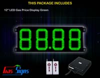 Gas Price LED Sign 12 inch - 88.88 Green Sign
