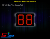 Gas Price LED Sign 12 inch - 88 Red Sign
