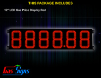 Gas Price LED Sign 12 inch - 8888.88 Red Sign