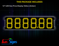 Gas Price LED Sign 12 inch - 8888.88 Yellow Sign