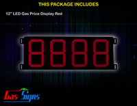 Gas Price LED Sign 12 inch - 8888 Red Sign