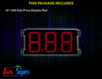 LED Gas Price Display 16 inch - 8.88 Red Sign