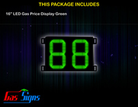 LED Gas Price Display 16 inch - 88 Green Sign