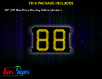 LED Gas Price Display 16 inch - 88 Yellow Sign