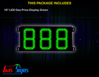LED Gas Price Display 16 inch - 888 Green Sign