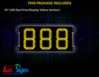 LED Gas Price Display 16 inch - 888 Yellow Sign
