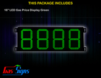 LED Gas Price Display 16 inch - 8888 Green Sign