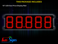 Gas Price LED Display 18 inch - 88.888 Red Sign