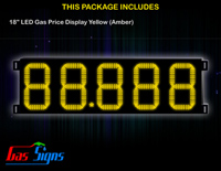 Gas Price LED Display 18 inch - 88.888 Yellow Sign