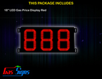 Gas Price LED Display 18 inch - 888 Red Sign