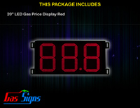 Gas Price Sign 20 inch - 88.8 Red Sign