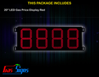 Gas Price Sign 20 inch - 8888 Red Sign