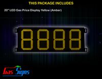 Gas Price Sign 20 inch - 8888 Yellow Sign