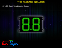 Gas Price LED Sign 8 inch - 8.8 Green Sign
