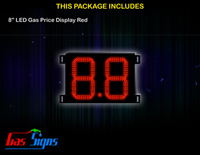 Gas Price LED Sign 8 inch - 8.8 Red Sign