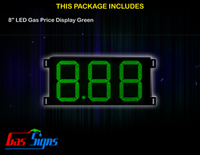 Gas Price LED Sign 8 inch - 8.88 Green Sign