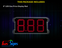 Gas Price LED Sign 8 inch - 8.88 Red Sign