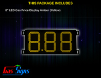 Gas Price LED Sign 8 inch - 8.88 Yellow Sign