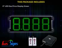 Gas Price LED Sign 8 inch - 8.888 Green Sign