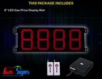 Gas Price LED Sign 8 inch - 8.888 Red Sign