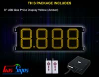 Gas Price LED Sign 8 inch - 8.888 Yellow Sign