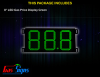 Gas Price LED Sign 8 inch - 88.8 Green Sign