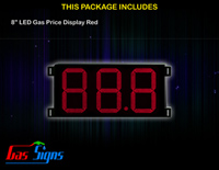 Gas Price LED Sign 8 inch - 88.8 Red Sign