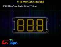 Gas Price LED Sign 8 inch - 88.8 Yellow Sign