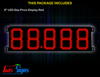 Gas Price LED Sign 8 inch - 88.888 Red Sign